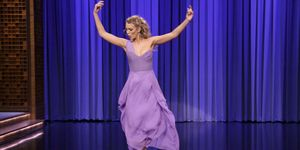 Blake lively dancing jimmy fallon purple dress