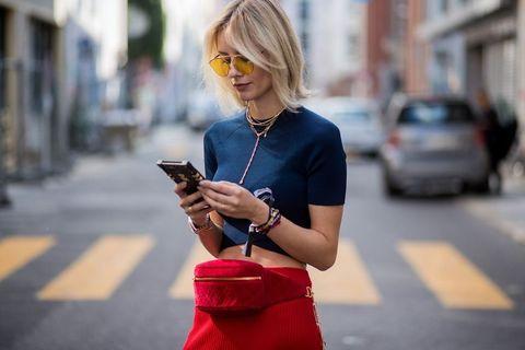Street fashion, Photograph, Smartphone, Eyewear, Gadget, Blond, Mobile phone, Fashion, Snapshot, Glasses,