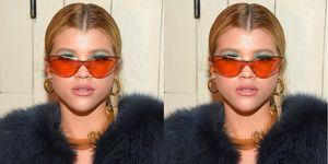 sofia richie 90s orange sunglasses