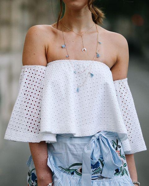 Clothing, Shoulder, White, Joint, Fashion, Crochet, Dress, Design, Pattern, Fashion model,