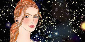 horoscopes - girl and stars illustration