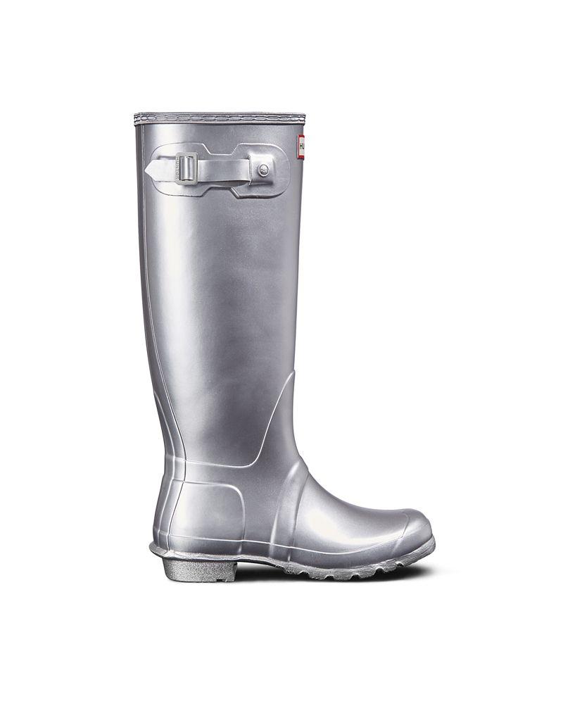 Hunter originals silver tall wellington boots