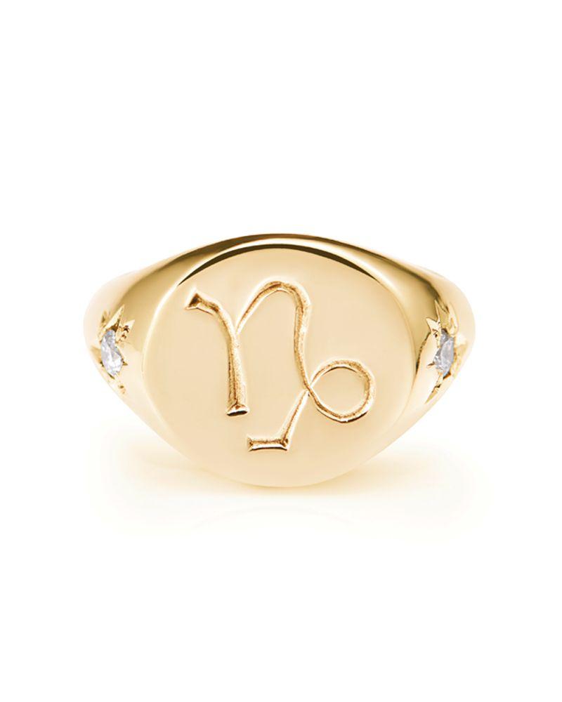 Rachel Entwistle zodiac sign gold signet ring with diamonds