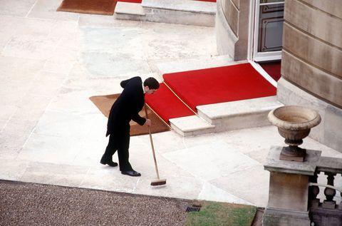 Red, Snapshot, Standing, Floor, Human, Infrastructure, Leg, Flooring, Shadow, Table,