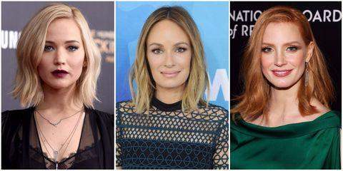 Jennifer Lawrence, Jessica Chastain and Catt Sadler   ELLE UK