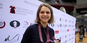 Ukraine's grandmaster Anna Muzychuk celebrates after winning a two gold medals in the FIDE World Chess Rapid & Blitz Championships 2016, in the Qatari capital Doha on December 30, 2016 | ELLE UK
