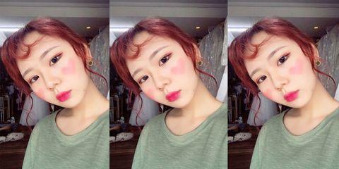 heart shaped blusher makeup trend