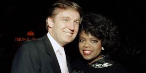 Businessman Donald Trump and Oprah Winfrey at Tyson vs Holmes Convention Hall in Atlantic City, New Jersey January 22 1988 | ELLE UK
