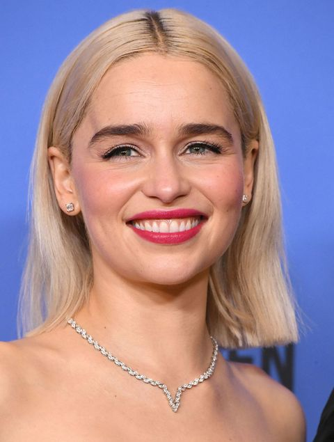 Emilia clarke just went bleached blonde and became a real life game emilia clarke blonde golden globes press room m4hsunfo