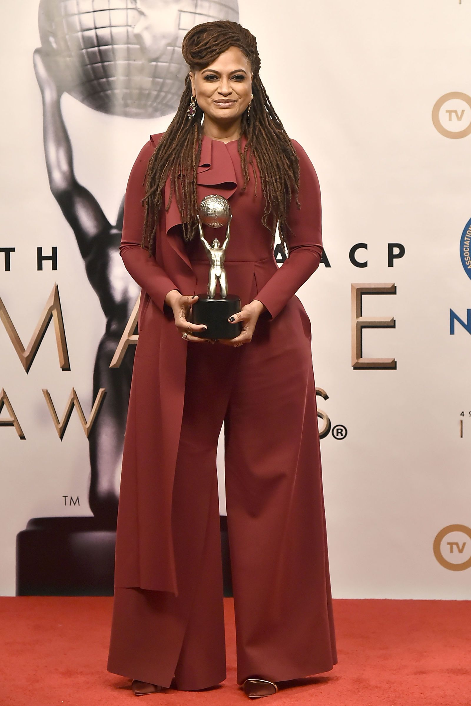 Ava DuVernay Greta Constantine jumpsuit to the 2018 NAACP Image Awards.