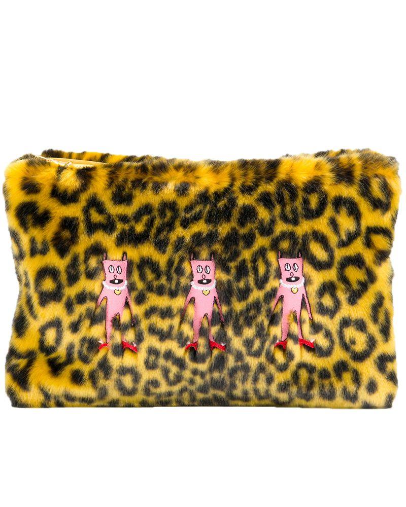 Shrimps, leopard print, faux fur, bag