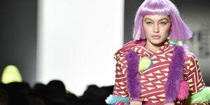 Gigi Hadid pink wig jeremy scott aw18