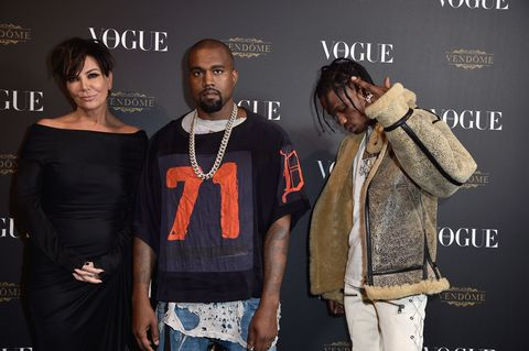 Kris Jenner, Kanye West and Travis Scott in Paris in 2015