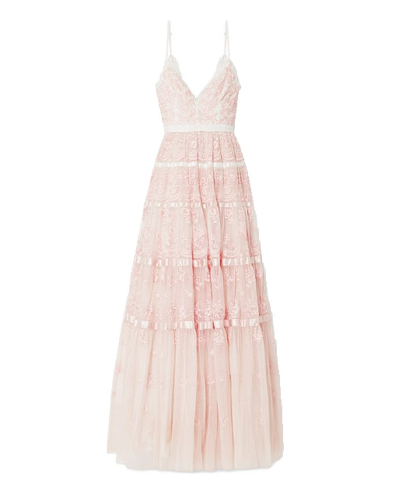 needle & thread pink bridesmaids dress