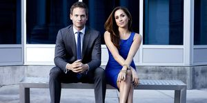 Patrick J Adams and Meghan Markle in Suits