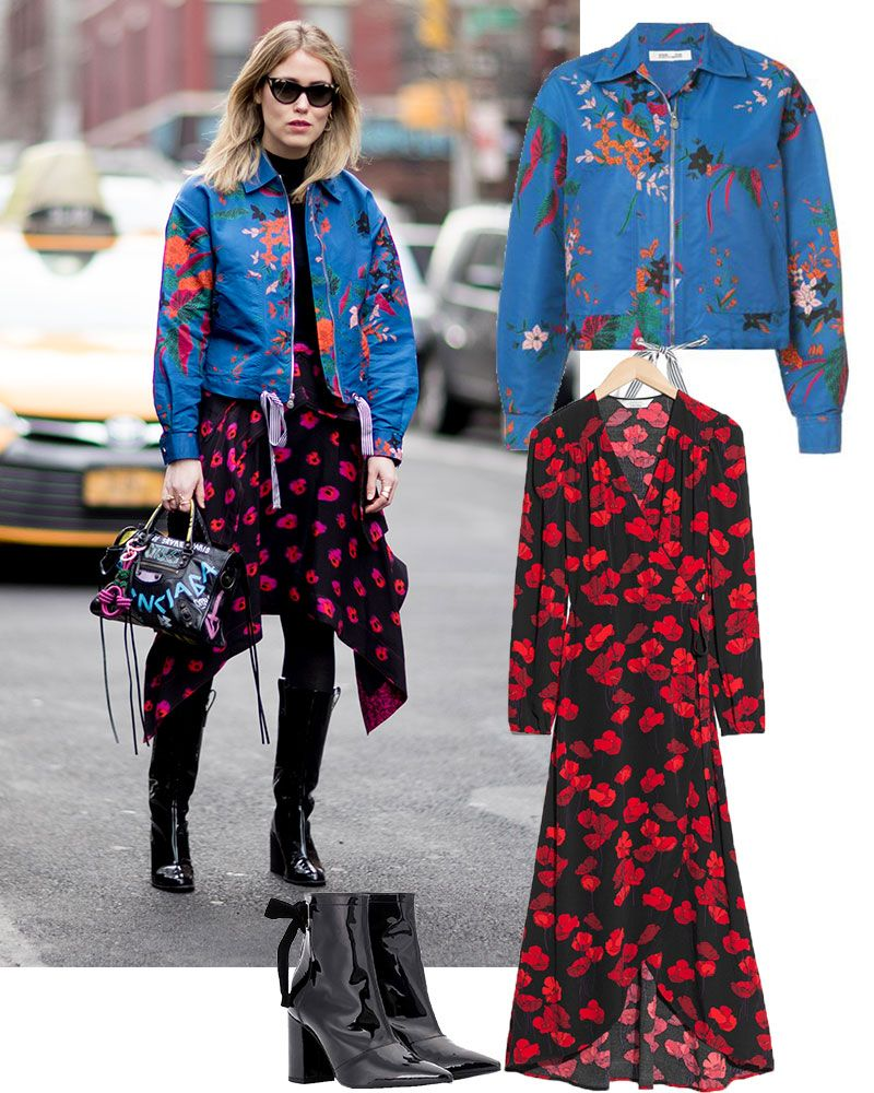 street style blue floral bomber jacket