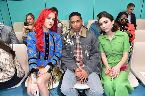 Bria Vinaite, Kelvin Harrison Jr. and Rowan Blanchard front row Gucci
