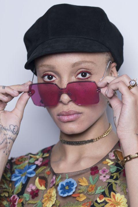 Nose, Lip, Finger, Wrist, Fashion accessory, Jewellery, Headgear, Costume accessory, Eyelash, Fashion,