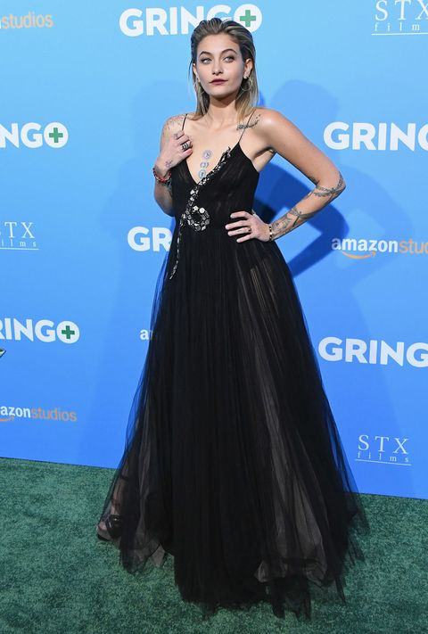 paris Jackson, black gucci dress, gringo premiere