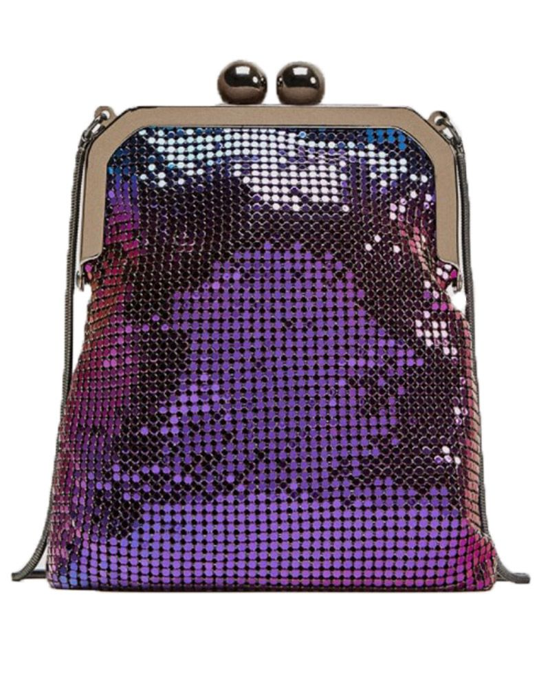 Metallic meshi, mini, puple, zara bag