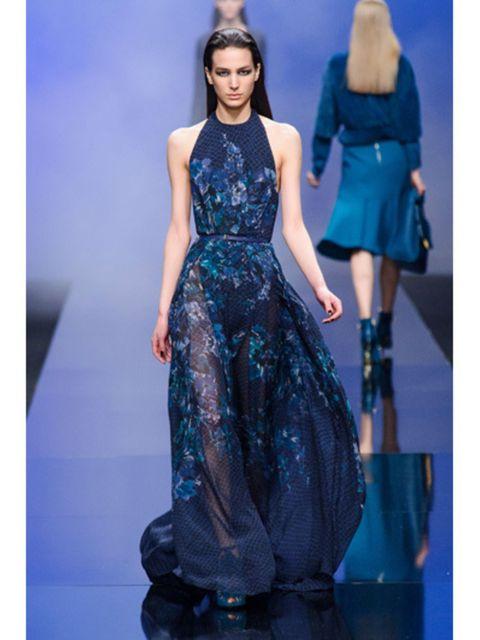 Blue, Dress, Shoulder, Fashion show, Joint, Fashion model, One-piece garment, Style, Formal wear, Electric blue,