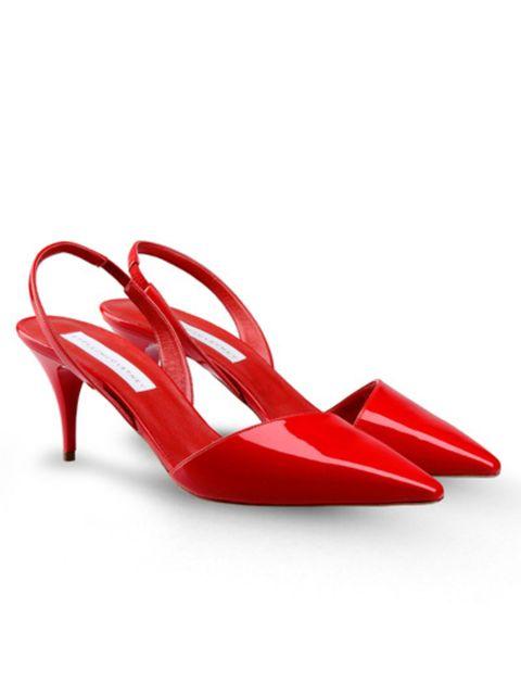 Sandal, Red, Carmine, Basic pump, High heels, Slingback, Dancing shoe, Bridal shoe, Fashion design,