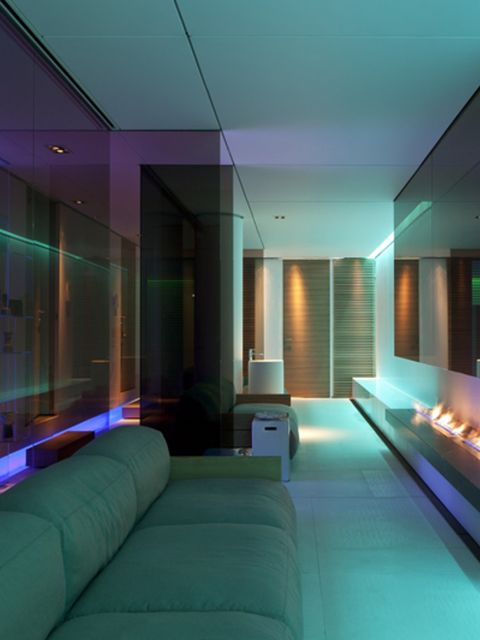 Interior design, Room, Floor, Ceiling, Wall, Couch, Turquoise, Purple, Interior design, Teal,