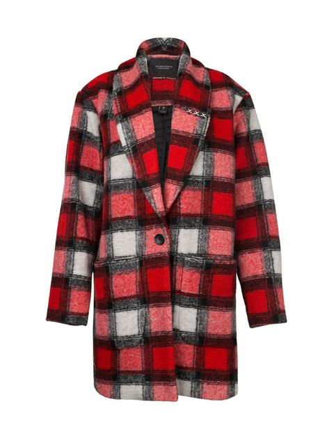 Clothing, Plaid, Sleeve, Pattern, Collar, Coat, Textile, Red, Outerwear, Tartan,