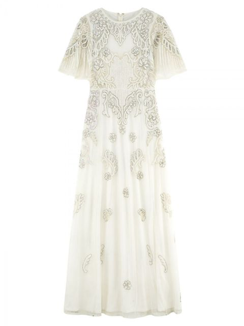 Product, Sleeve, Dress, Textile, White, One-piece garment, Pattern, Day dress, Fashion, Beige,