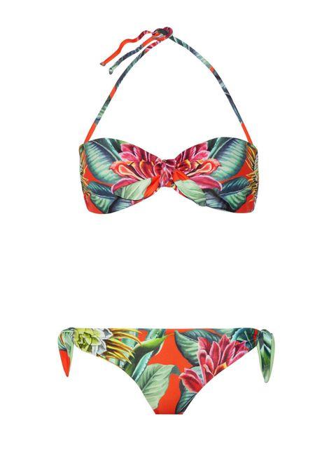 Red, Costume accessory, Pattern, Costume, Bikini, Knot, Ribbon, Undergarment, Brassiere, Lingerie,