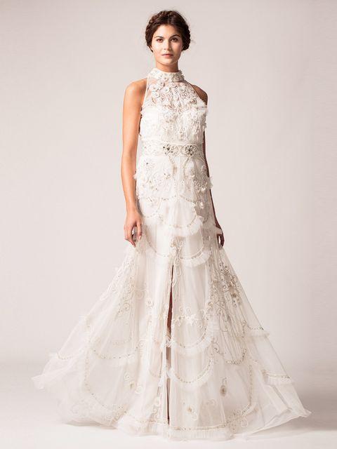 Clothing, Sleeve, Shoulder, Dress, Textile, Photograph, Bridal clothing, White, Wedding dress, Standing,
