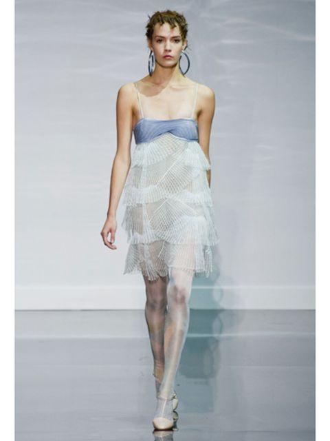 Fashion show, Shoulder, Human leg, Joint, One-piece garment, Waist, Dress, Style, Fashion model, Runway,
