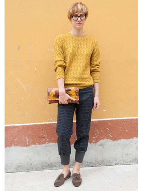 Clothing, Footwear, Leg, Brown, Glasses, Sleeve, Textile, Sweater, Joint, Outerwear,