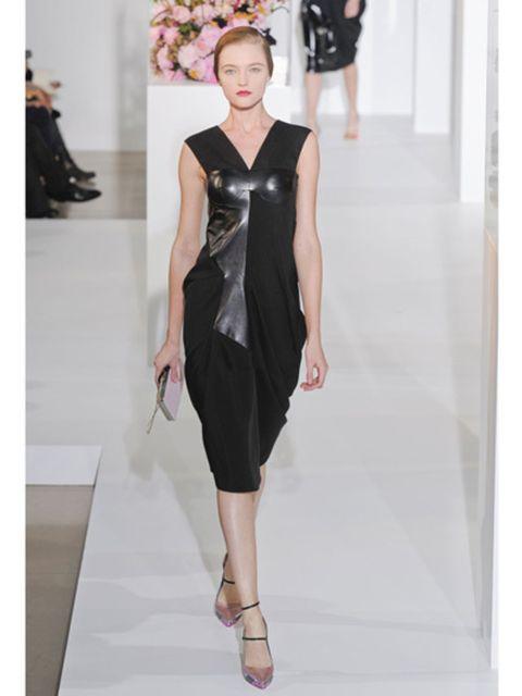 Fashion show, Shoulder, Dress, Joint, Runway, Fashion model, One-piece garment, Style, Formal wear, Waist,
