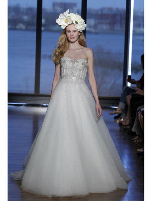 Blue, Shoulder, Textile, Dress, Bridal clothing, Gown, Formal wear, Wedding dress, One-piece garment, Headpiece,