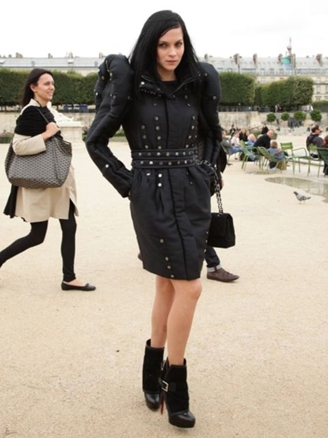 Clothing, Footwear, Sleeve, Textile, Outerwear, Pattern, Coat, Style, Street fashion, Knee,