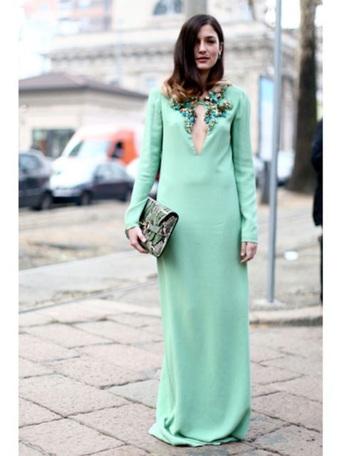 Clothing, Green, Sleeve, Jewellery, Outerwear, Dress, Formal wear, Style, Teal, Street fashion,