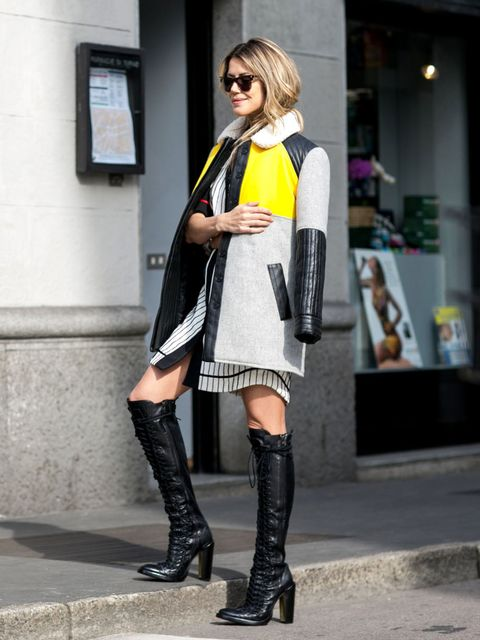 Clothing, Footwear, Joint, Outerwear, Style, Street fashion, Boot, Sunglasses, Knee, Bag,