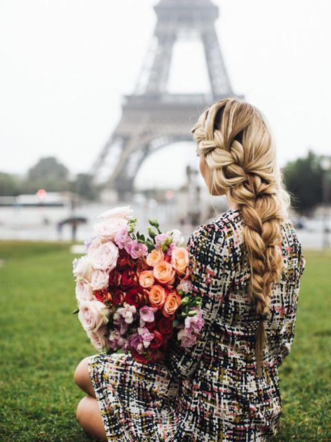 Petal, Flower, People in nature, Pattern, Long hair, Spring, Braid, Blond, Peach, Rose family,