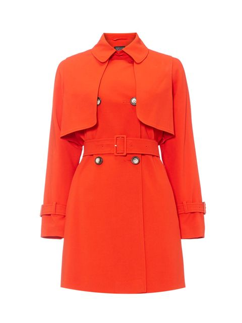 Coat, Collar, Sleeve, Textile, Red, Outerwear, Orange, Formal wear, Dress shirt, Uniform,
