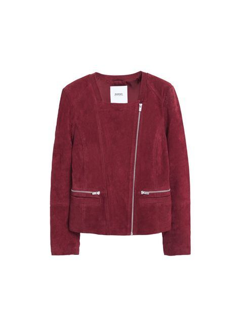 Product, Sleeve, Collar, Coat, Textile, Outerwear, Red, White, Magenta, Carmine,