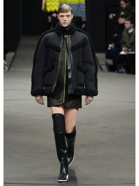 Sleeve, Human leg, Textile, Winter, Joint, Outerwear, Jacket, Style, Fashion show, Street fashion,