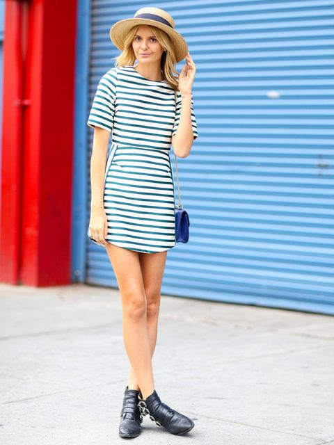Clothing, Blue, Sleeve, Shoulder, Human leg, Dress, Hat, Joint, Standing, Style,