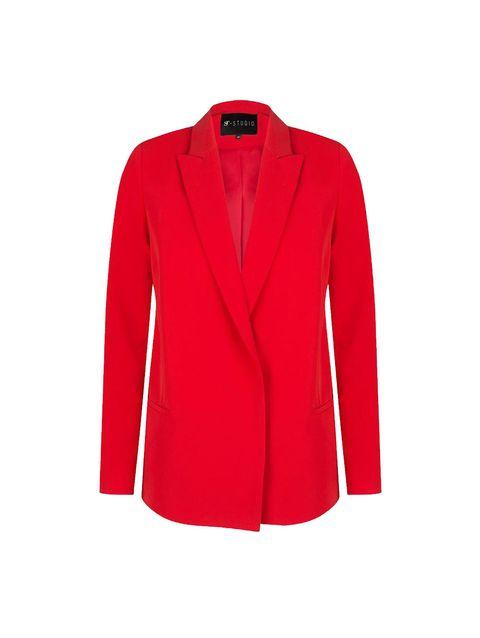 Collar, Coat, Sleeve, Textile, Red, Outerwear, Blazer, Carmine, Pattern, Fashion,