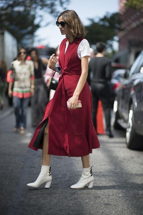Clothing, Footwear, Leg, Dress, Human leg, Outerwear, Standing, Sunglasses, Style, Bag,