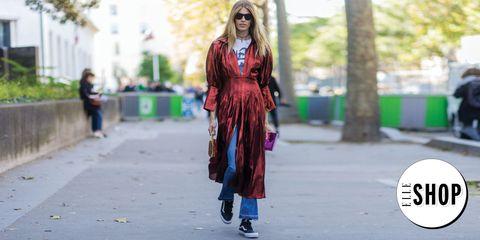 Sunglasses, Style, Dress, Street fashion, Bag, Magenta, Fashion, Fashion model, Luggage and bags, Long hair,
