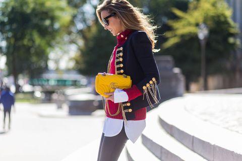 Bag, Winter, Street fashion, Sunglasses, Carmine, Goggles, Blond, Fashion design, Fashion model, Active pants,