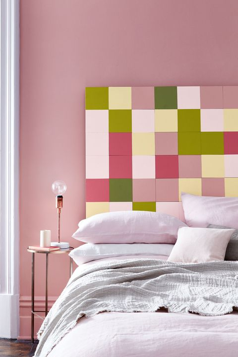 Room, Interior design, Bed, Wall, Bedding, Textile, Bedroom, Furniture, Linens, Pink,