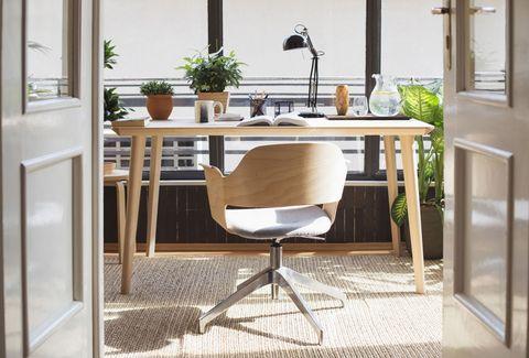 Furniture, Chair, Table, Room, Interior design, Desk, Floor, Office chair, Armrest, Flooring,