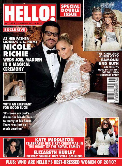 """<p>Nicole Richie trouwde in december 2010 met Joel Madden in een prachtige jurk van Marchesa van een luttele $20.000.</p><p><em data-redactor-tag=""""em"""">foto: HELLO!</em></p>"""